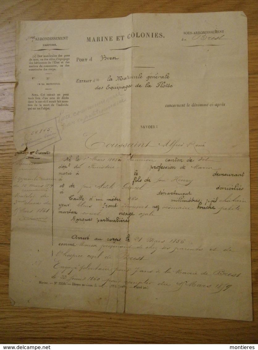 Etats De Services Marin Alfred Toussaint - Marine Et Colonies Port De Brest 17 Avril 1886 - Bateaux