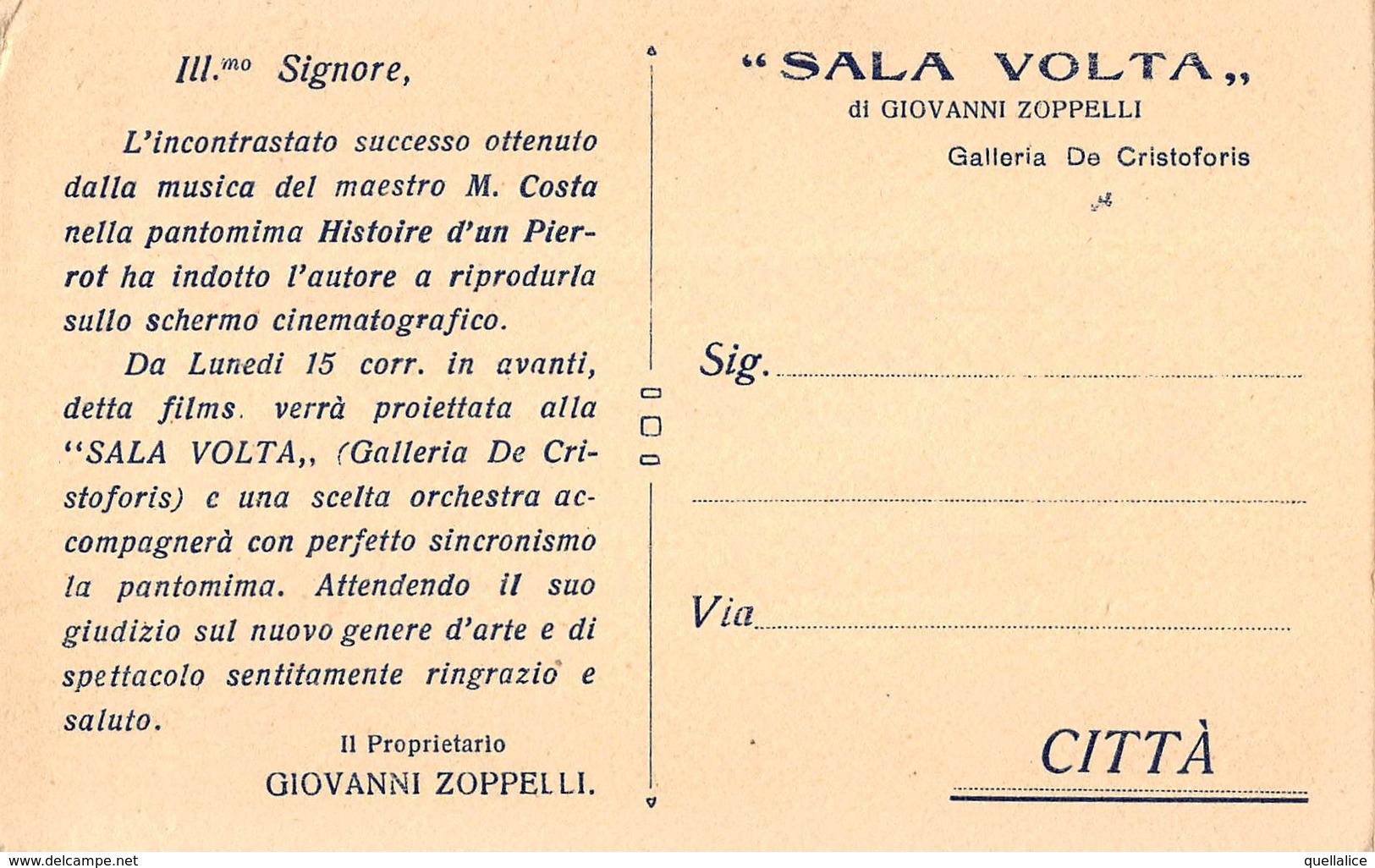"""0897 """"HISTOIRE D'UN PIERROT-A FRANCESCA BERTINI-SALA VOLTA DI GIOVANNI ZOPPELLI-GALLERIA DE CRISTOFORIS"""" CART NON SPED - Cartes Postales"""