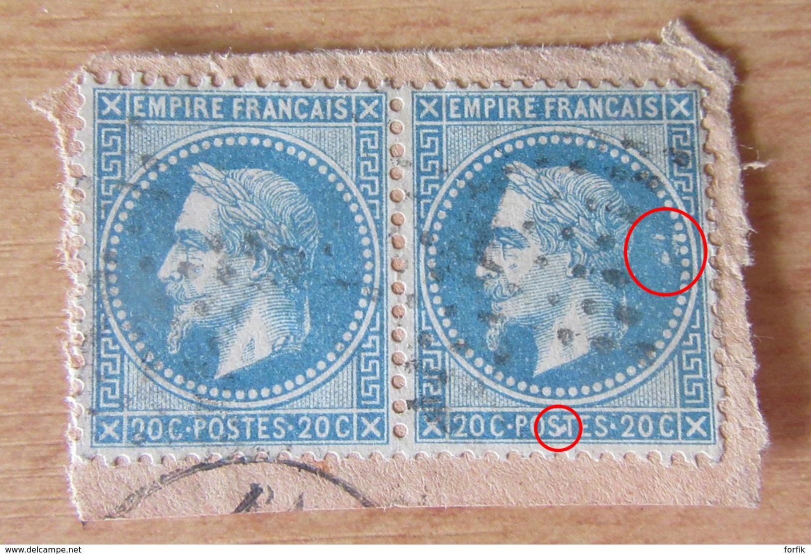 """France - Paire Horizontale Du 20c YT N°29B - Variété """"corne"""" Sur Le S De Postes (timbre De Droite) - 1863-1870 Napoleon III With Laurels"""