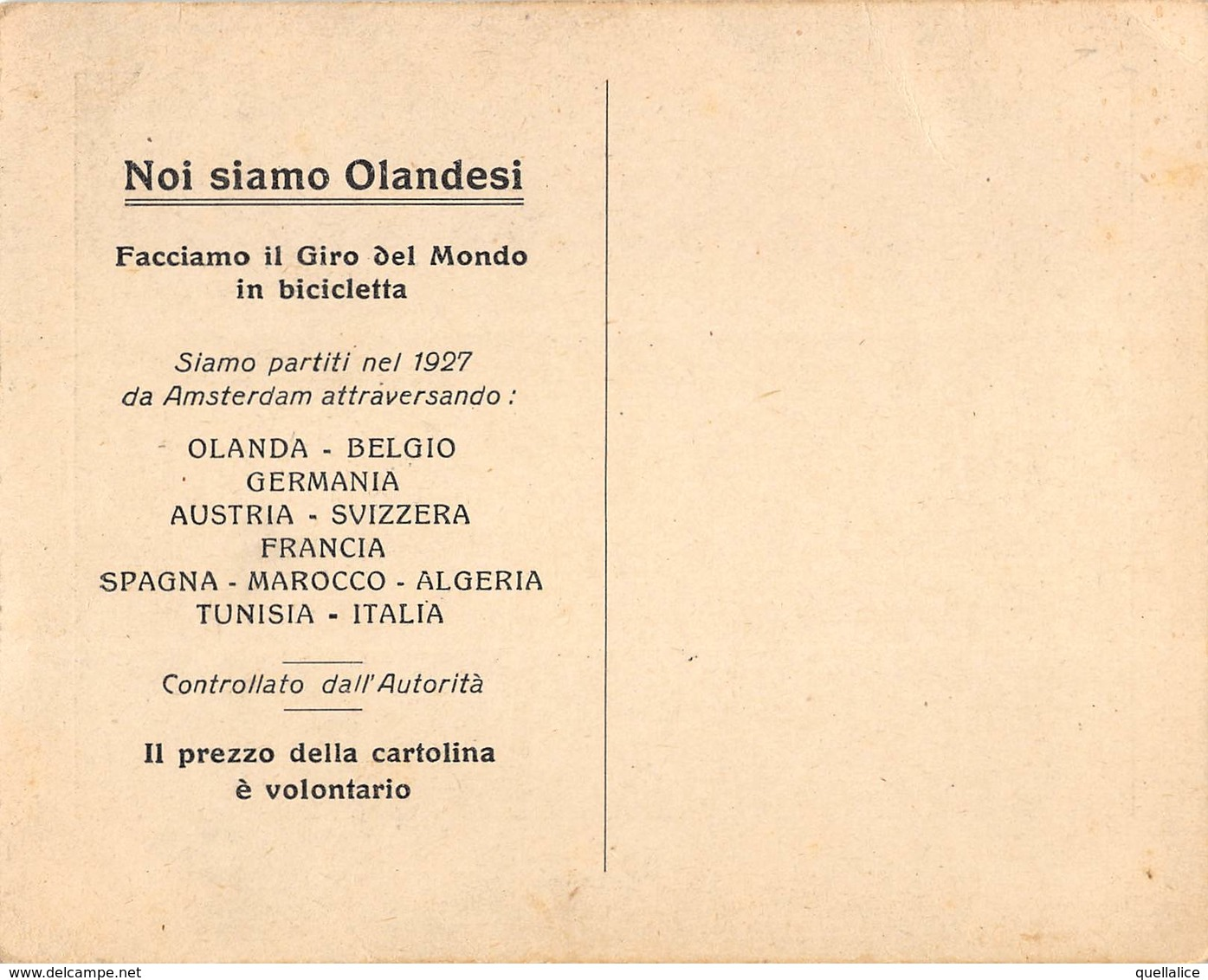 """0912 """"IL NOSTRO PASSAGGIO IN AFRICA-NOI SIAMO OLANDESI-FACCIAMO IL GIRO DEL MONDO IN BICI-1927"""" ANIMATA. CART NON SPED - Evénements"""