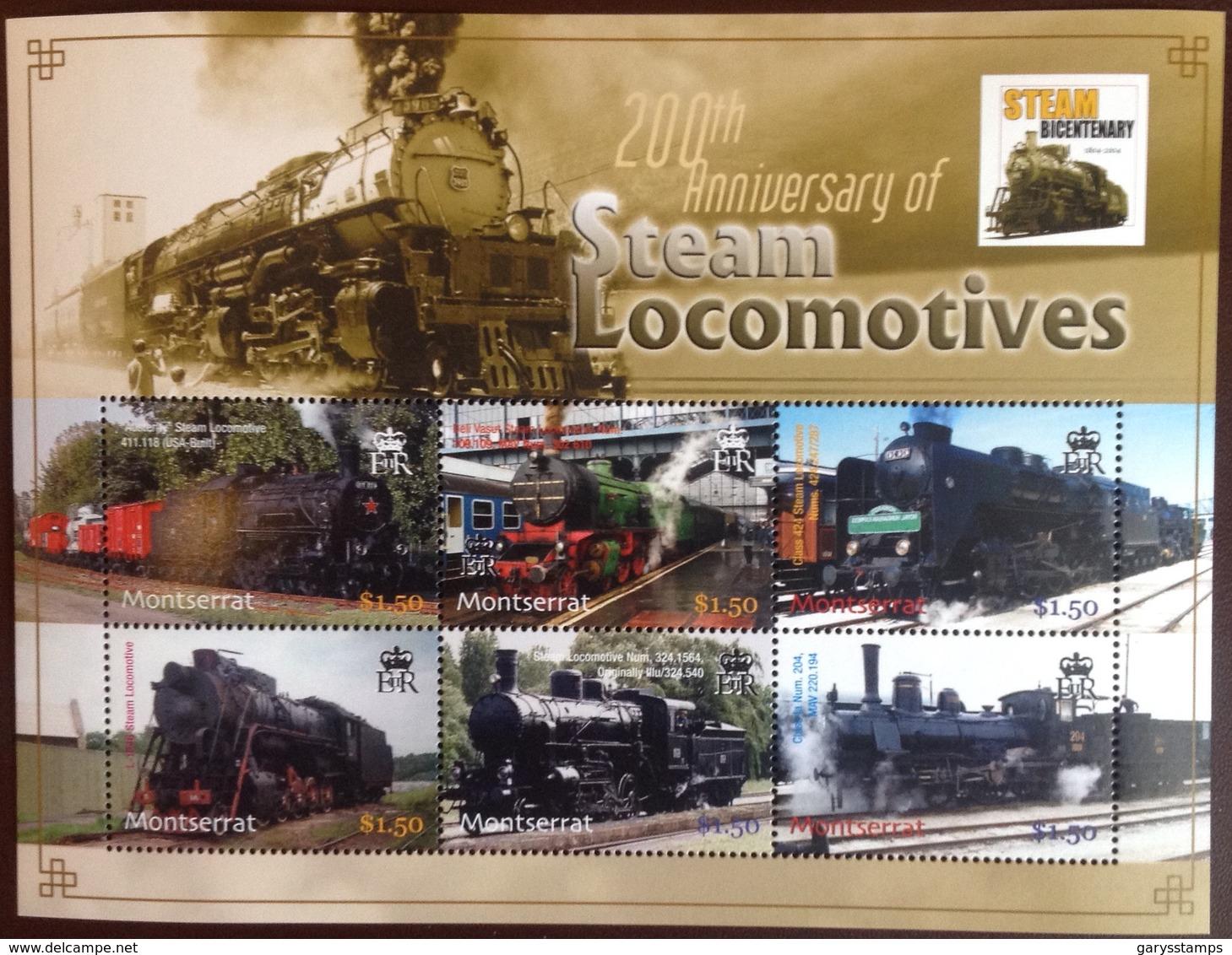 Montserrat 2004 Steam Locomotives Trains Sheetlet MNH - Montserrat