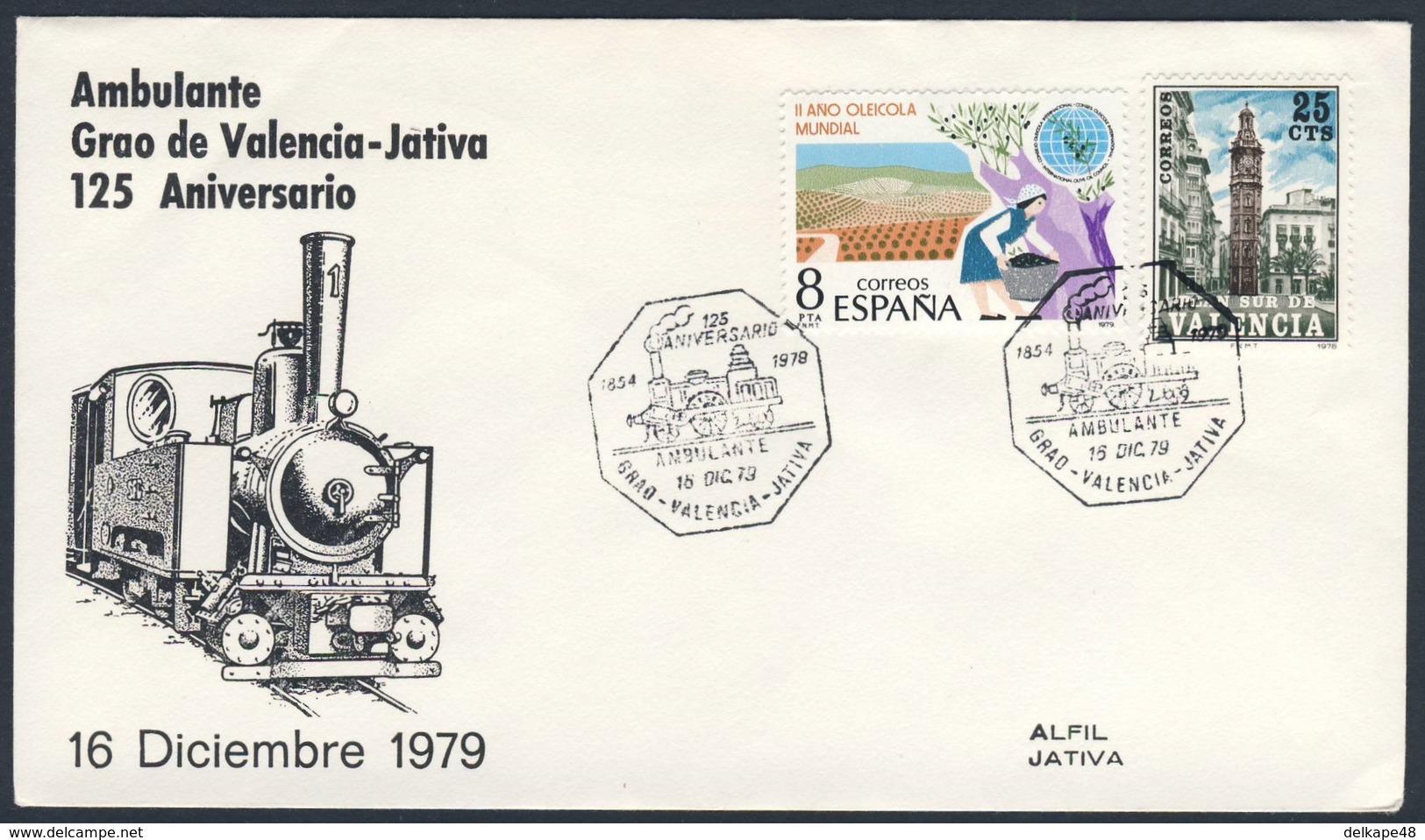 Spain Espana 1979 Cover Brief Enveloppe - 125 Aniv. Ambulante Grao De Valencia - Jativa / Eisenbahn / Railway - Treinen