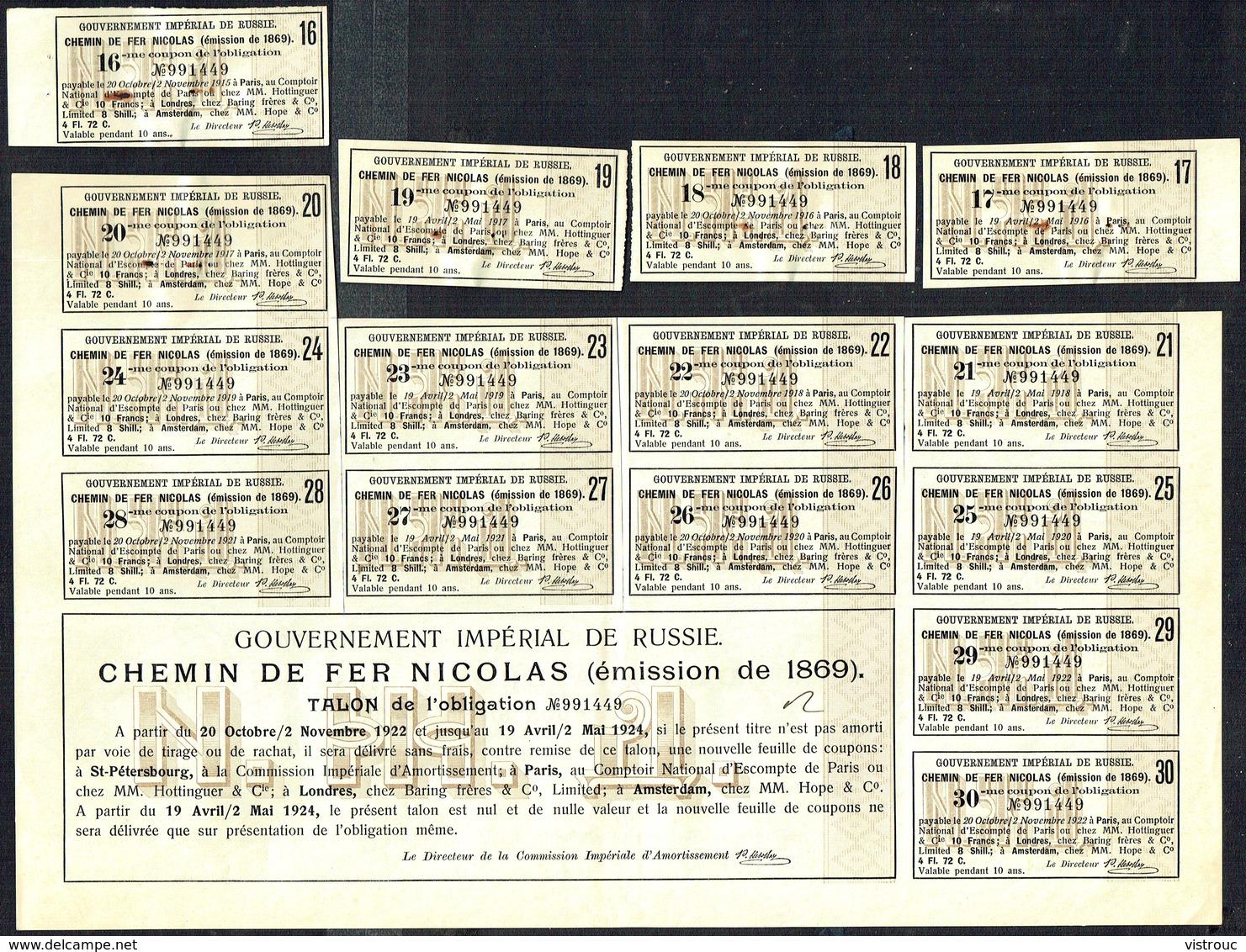 Gouv. Impérial De Russie - Chemin De Fer NICOLAS - Obligation De 125 Roubles - 400.000 EA - 1869. - Chemin De Fer & Tramway