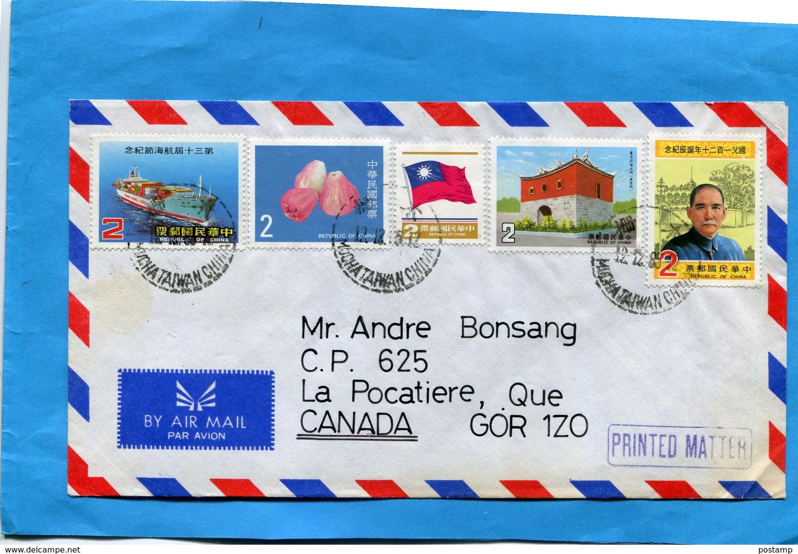 Marcophilie-TAIWAN-3 Letters- -lettres  >CANADA+années 1982+3-beaux Affranchissements Composés - Lettres & Documents