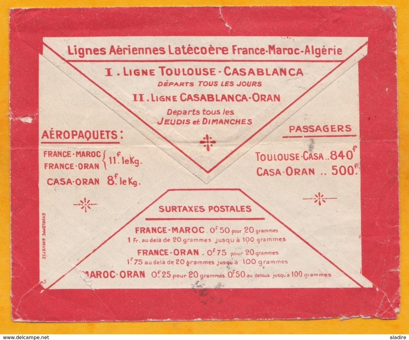 1924 - Enveloppe Par Avion Précurseur Lignes Aériennes Latécoère De Casablanca Maarif Vers Saint Etienne, France - Lettres & Documents