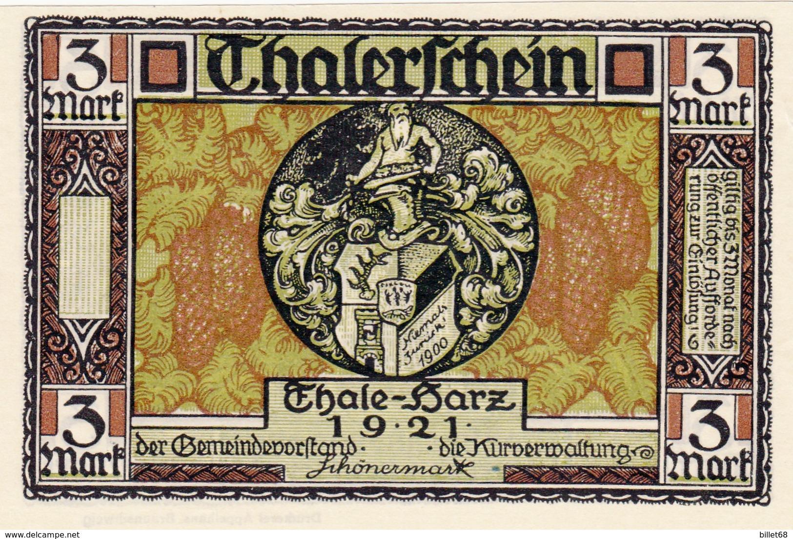 Billet Allemand - 3 Mark - Thale Am Harz 1922 - Stadtwappen, Der Wilde Mann - [11] Local Banknote Issues