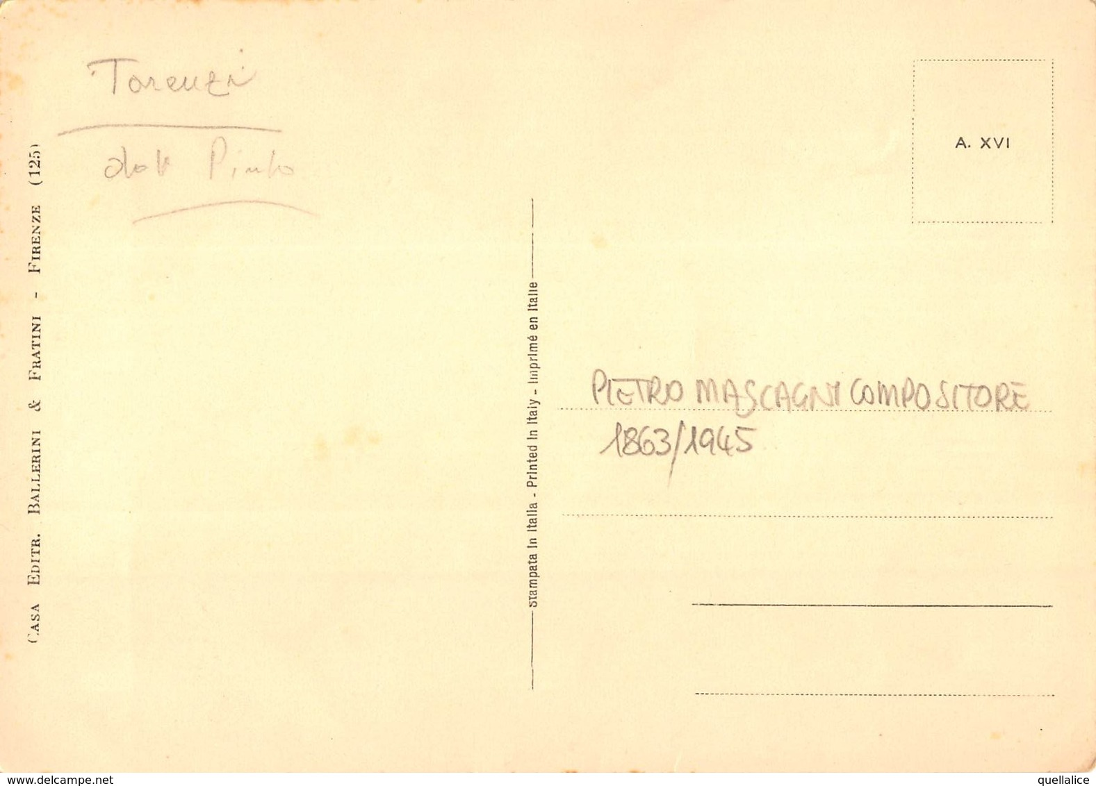 """0935 """"PIETRO MASCAGNI - COMPOSITORE - 1863/1945"""" AUTOGRAFO. CART. NON SPED - Artistes"""