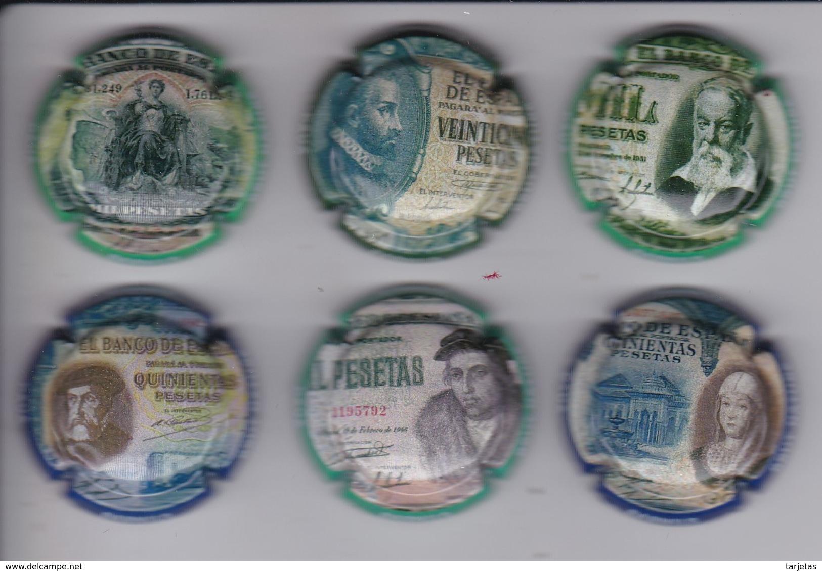 LOTE DE 6 PLACAS DE CAVA BARNILS DE BILLETES ESPAÑOLES (CAPSULE) PERSONAJES - BANKNOTE - Placas De Cava