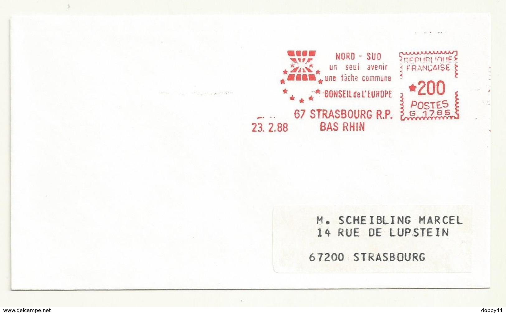 THEME EUROPE  OBLITERATION NORD/SUD UN SEUL AVENIR UNE TACHE COMMUNE  CONSEIL DE L'EUROPE  23/02/1988 - Marcofilie (Brieven)