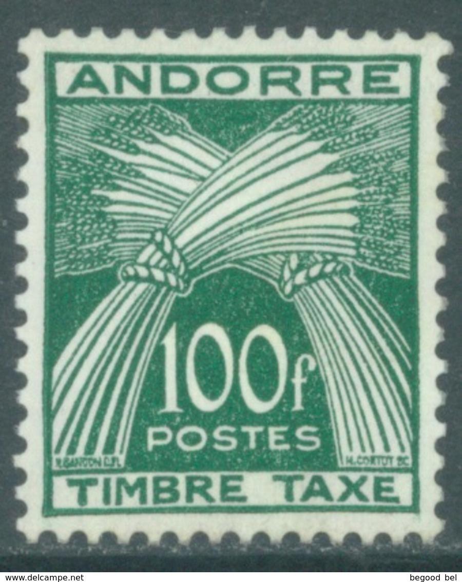 ANDORRE  - 1946-1950 - MNH/*** LUXE - 100 F ETAT IMPECCABLE GOMME D'ORIGINE  - Yv TX 41  -  Lot 19140 - Neufs