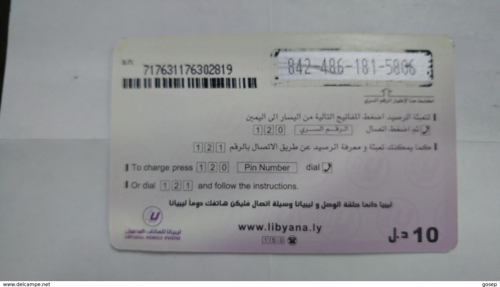Libya-prepiad Card-(17)-(10units)-(8424861815806)-used Card+1card Prepiad Free - Libye