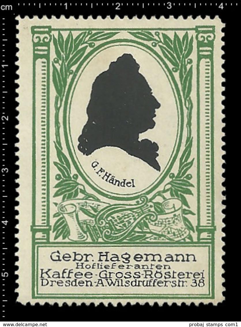 Old German Poster Stamp Cinderella Reklamemarke Erinnofili Publicité Vignette Georg Friedrich Händel Composer, RARE - Music