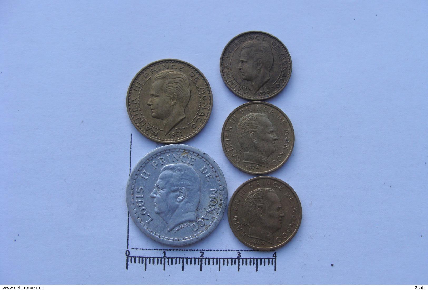 Lot De 5 Monnaies Monaco Francs (&30) - 1960-2001 Nouveaux Francs