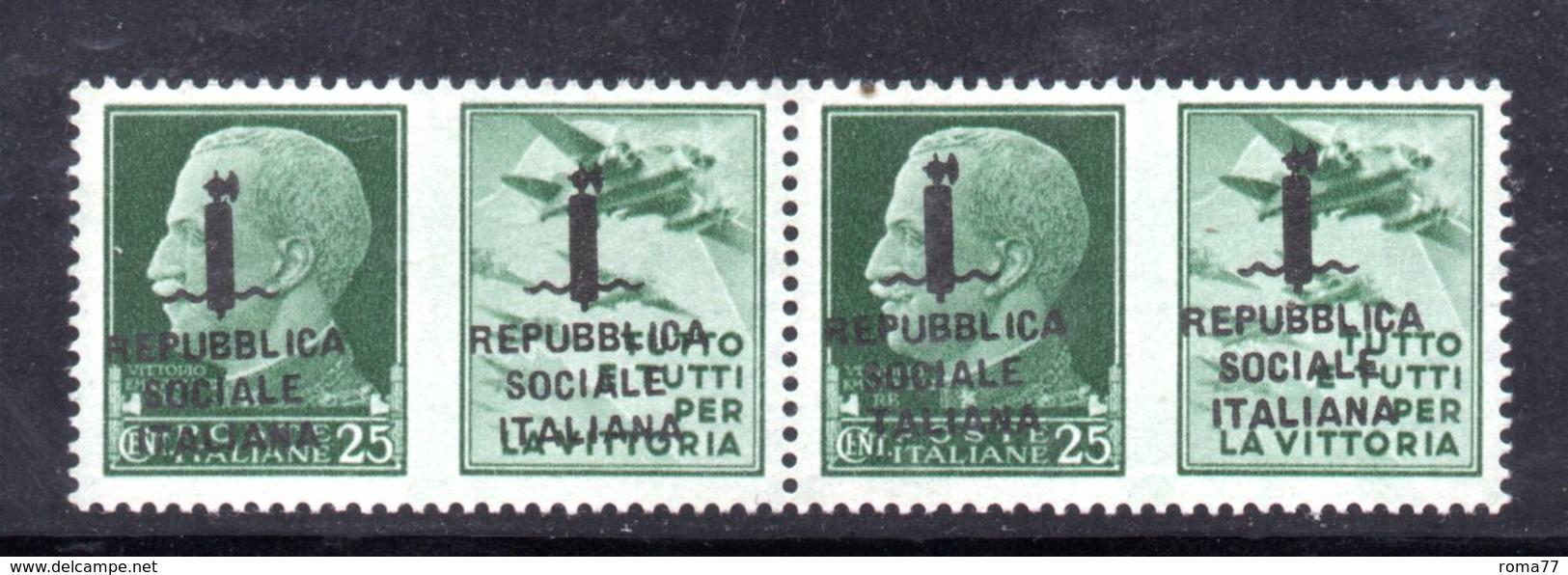 RSI185 - GNR 1944 ,  Propaganda Di Guerra 25 Centesimi Soprastampato : Coppia **  MNH.Firenze - 4. 1944-45 Repubblica Sociale