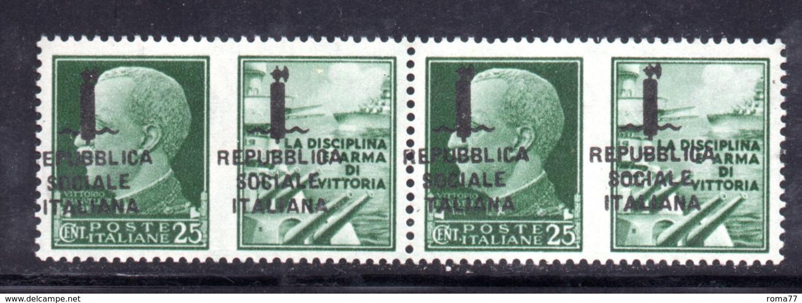 RSI186 - GNR 1944 ,  Propaganda Di Guerra 25 Centesimi Soprastampa Spostata : Coppia **  MNH.Firenze - Propaganda Di Guerra