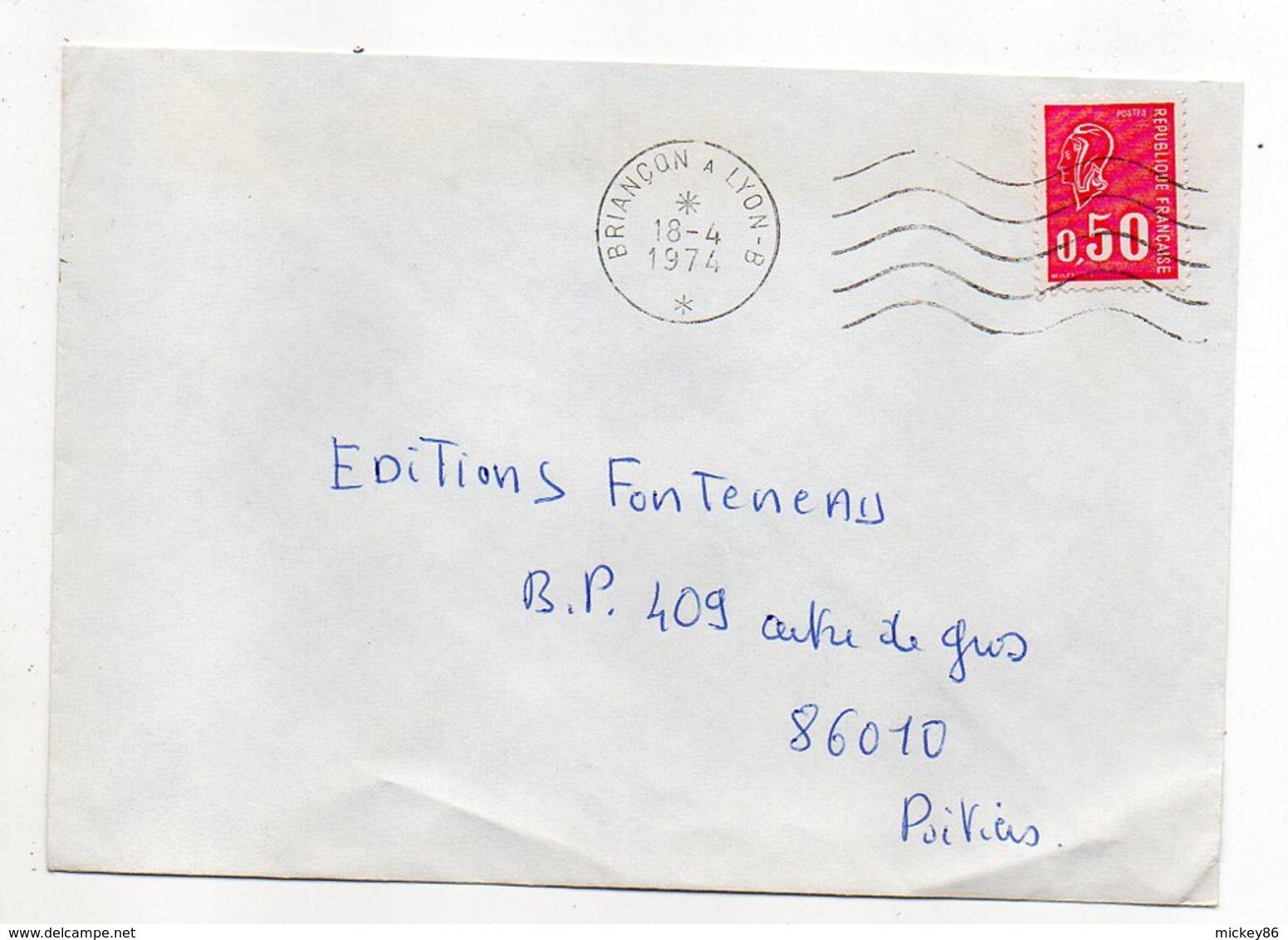 """1974---Lettre Pour Poitiers-86- Beau Cachet Mécanique Secap  Ambulant """" Briançon  à  Lyon - B """"-  Type Marianne Béquet - Marcophilie (Lettres)"""