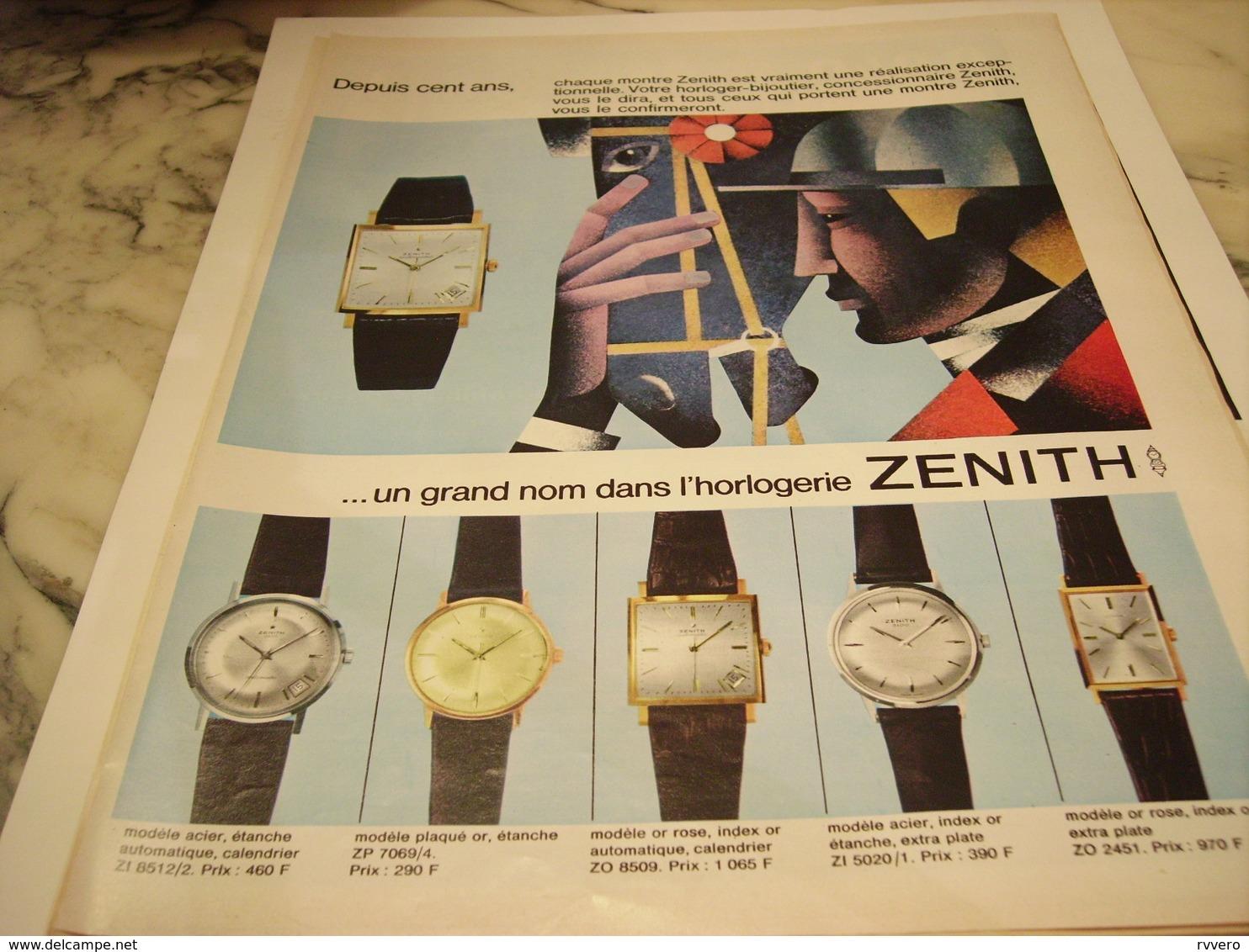 ANCIENNE PUBLICITE MONTRE ZENITH 1965 - Autres