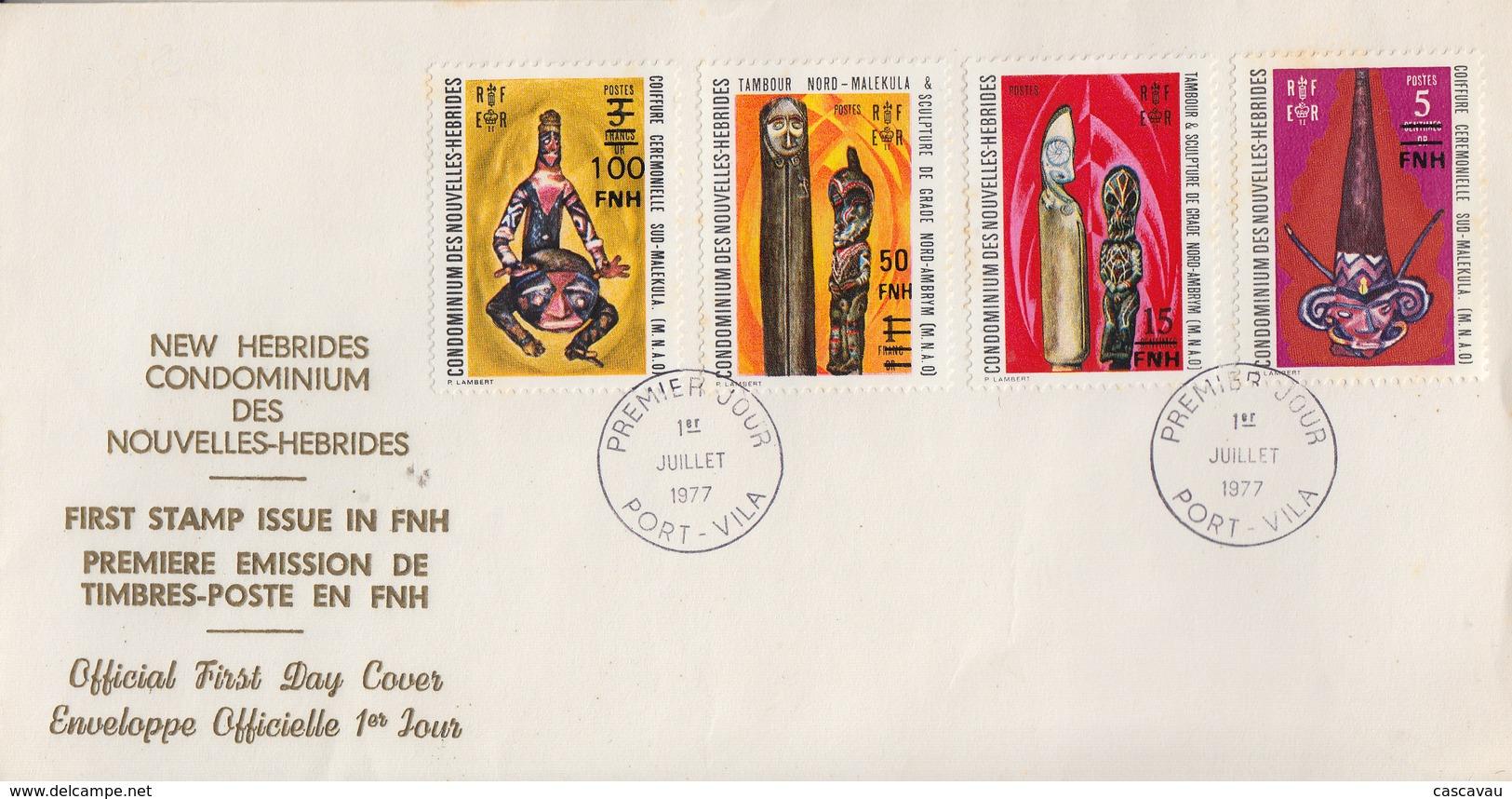 Enveloppe  FDC  1er Jour   NOUVELLES  HEBRIDES   Art  Indigéne   Timbres  Surchargés  1977 - FDC