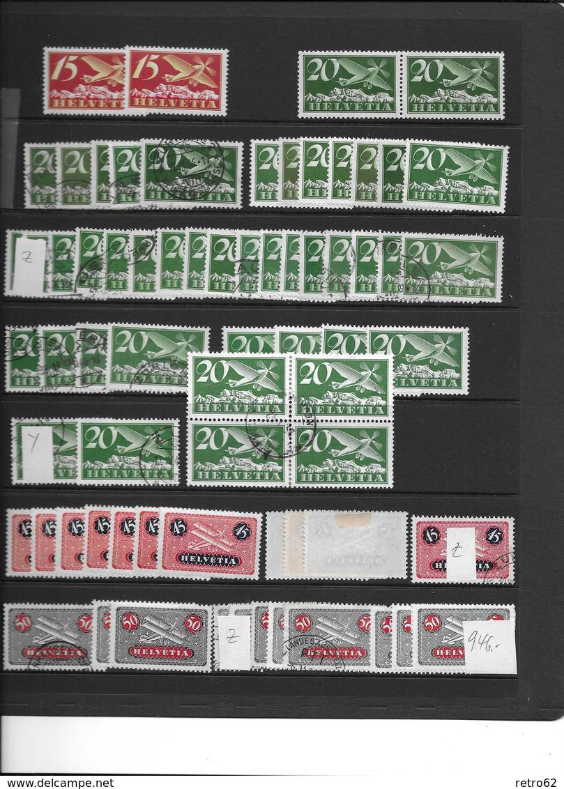 SAMMLUNG FLUGPOSTMARKEN SCHWEIZ → Sehr Umfangreich Mit über 1'100 Briefmarken - Suisse