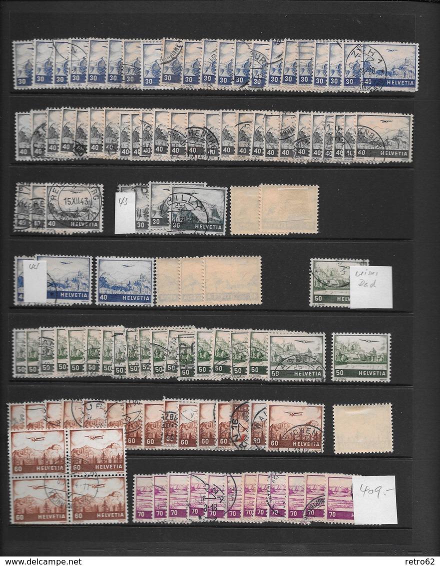 SAMMLUNG FLUGPOSTMARKEN SCHWEIZ → Sehr Umfangreich Mit über 1'100 Briefmarken - Lotti/Collezioni