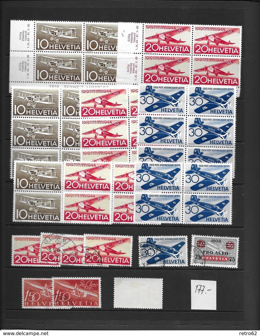 SAMMLUNG FLUGPOSTMARKEN SCHWEIZ → Sehr Umfangreich Mit über 1'100 Briefmarken - Verzamelingen