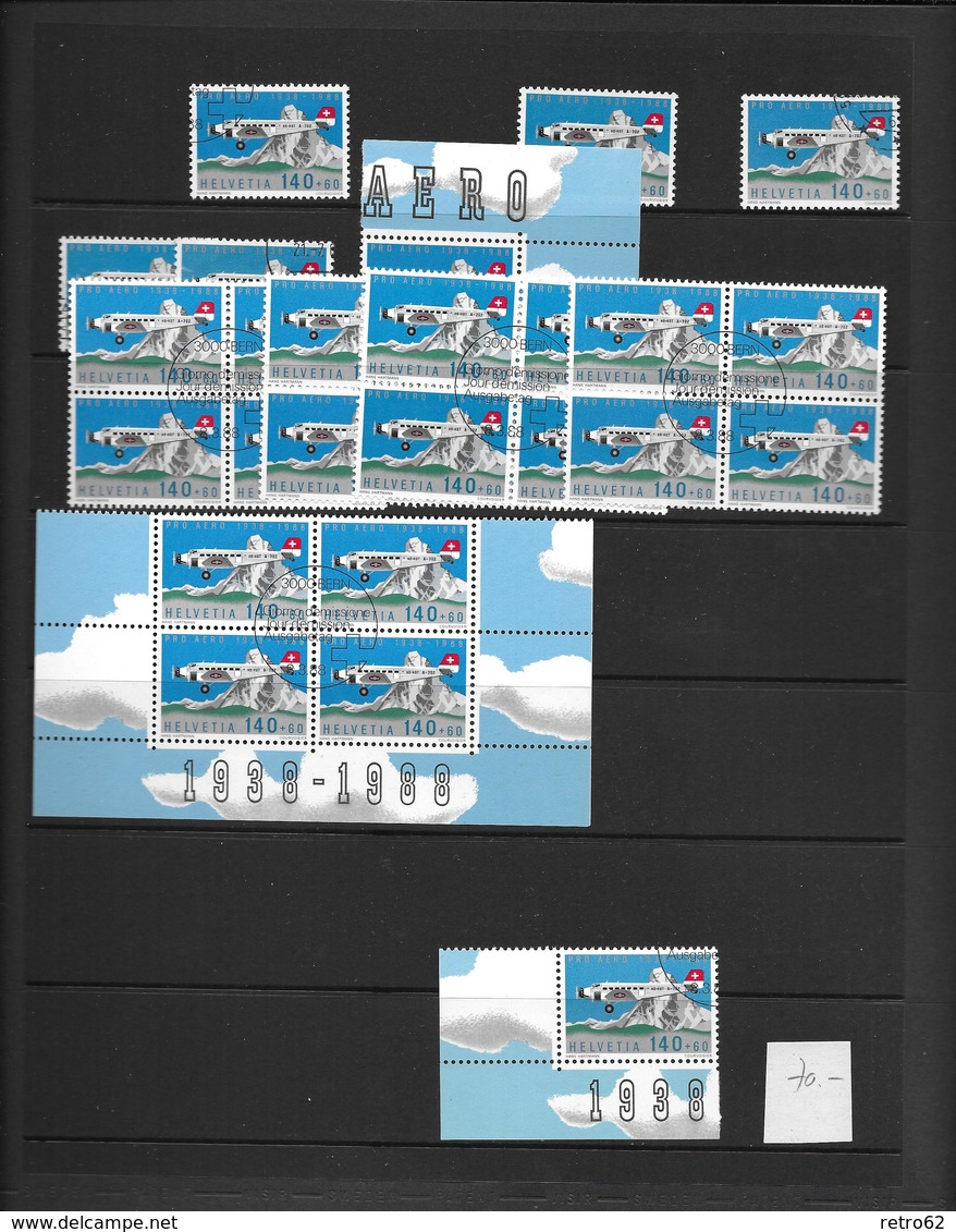 SAMMLUNG FLUGPOSTMARKEN SCHWEIZ → Sehr Umfangreich Mit über 1'100 Briefmarken - Schweiz