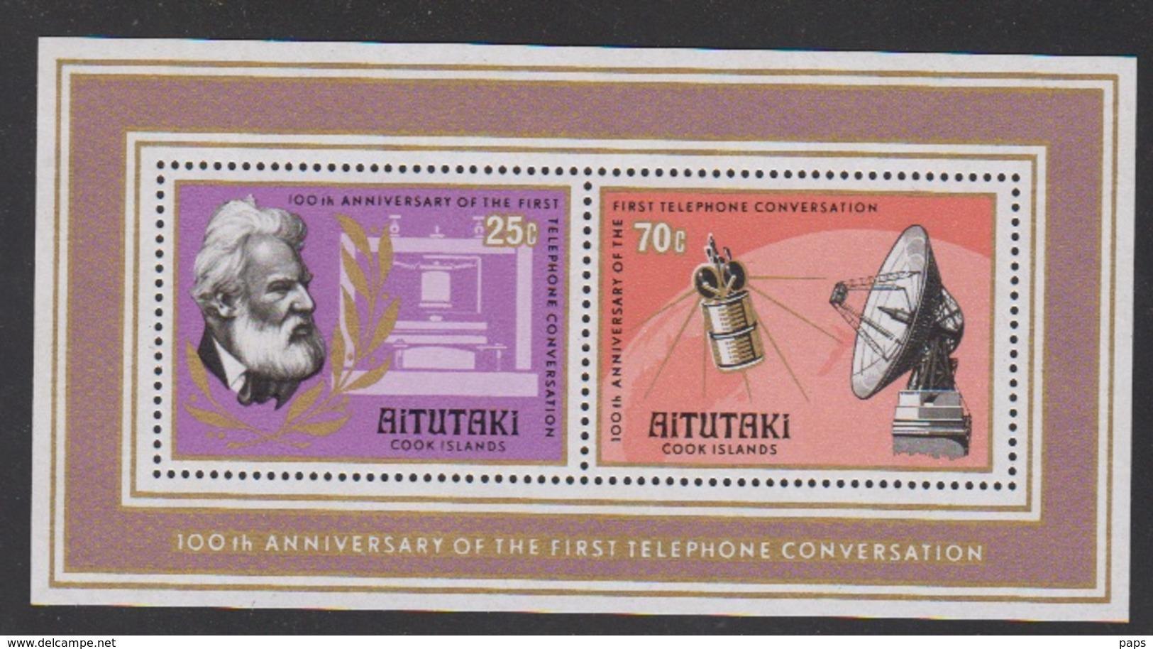 AITUTAKI-1977-BLOC N°13 1ière LIAISON TÉLÉPHONIQUE - Aitutaki