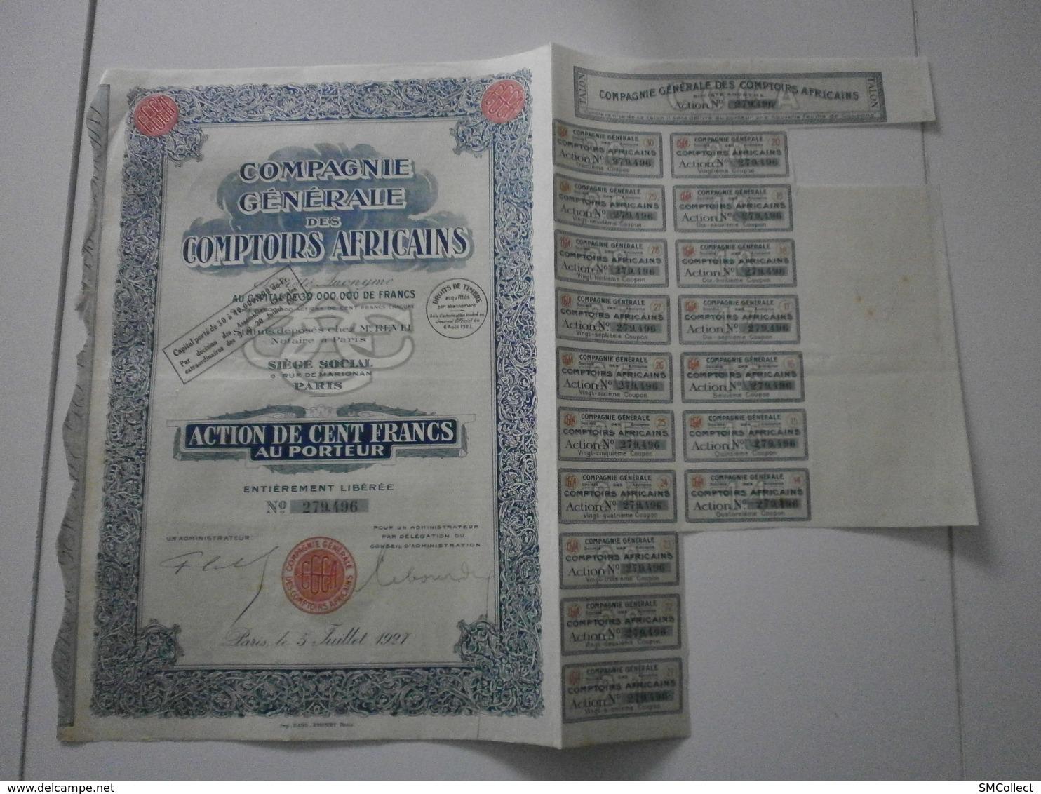 Compagnie Générale Des Comptoirs Africains. Lot De 5 Actions De 100 Francs 1925, 1926, 1927 - Afrique