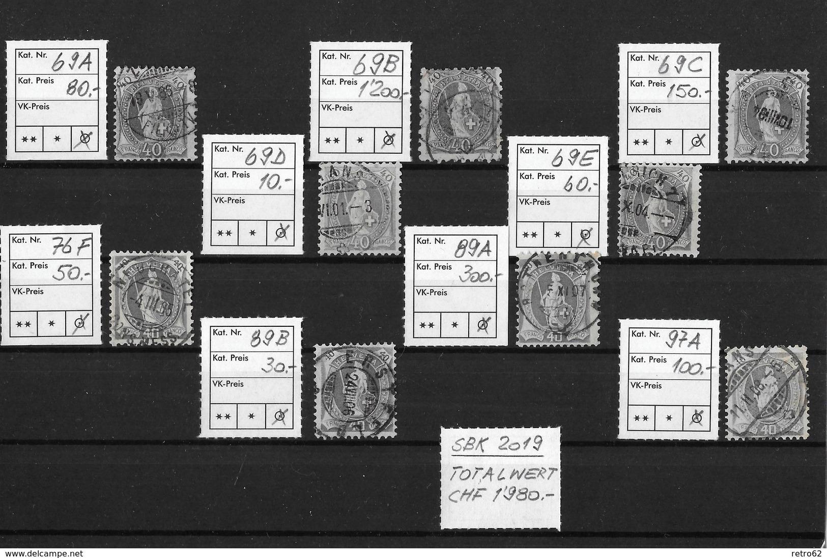 1882-1904 STEHENDE HELVETIA → SBK-69A Bis 97A   ►alle 40 Rappen Ausser 97B ►RAR◄ - 1882-1906 Coat Of Arms, Standing Helvetia & UPU