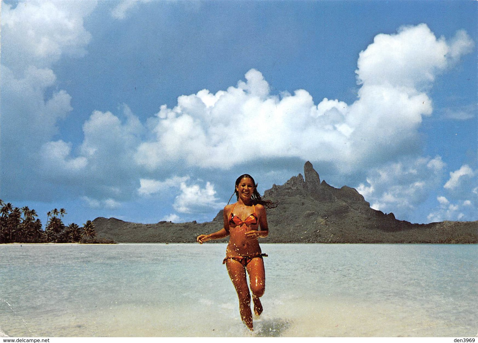 Polynésie Française - Tahitienne Courant Dans L'eau - Photo Erwin Christian - Timbre - Pin-up - French Polynesia