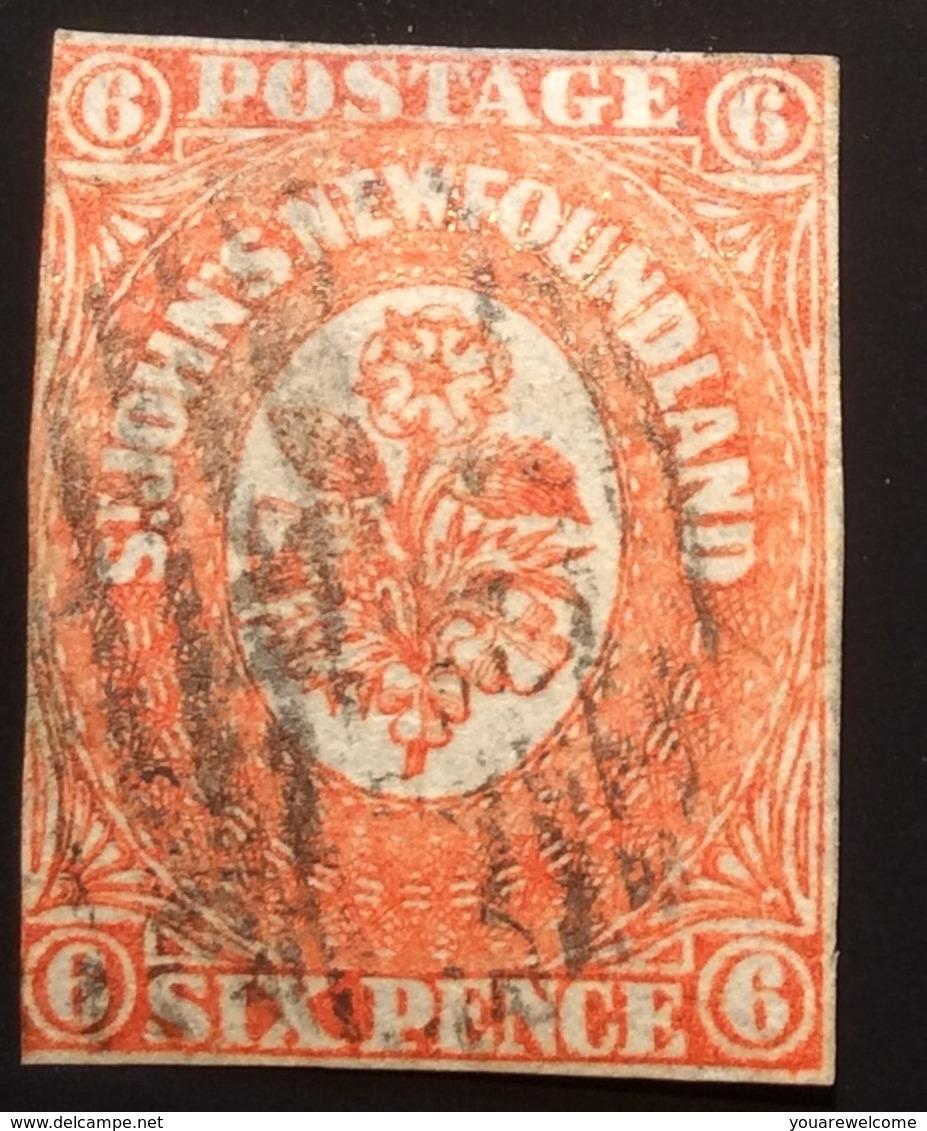 Newfoundland 1860 6d Orange-vermilion Used SG 14 (Terre-Neuve Canada Yv 12 Oblitéré RARE / BNA Flowers Fleurs Blumen - 1857-1861