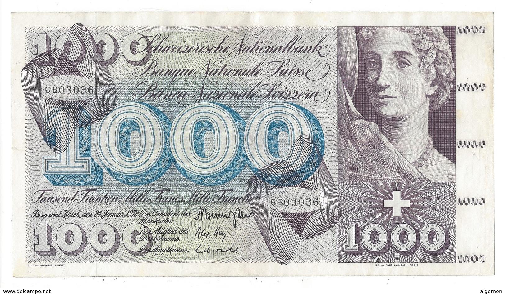 21566 - 1000 CHF 5e Série 24.01.1972 N°6BO3036 Très Bon état Signature HA - Suisse