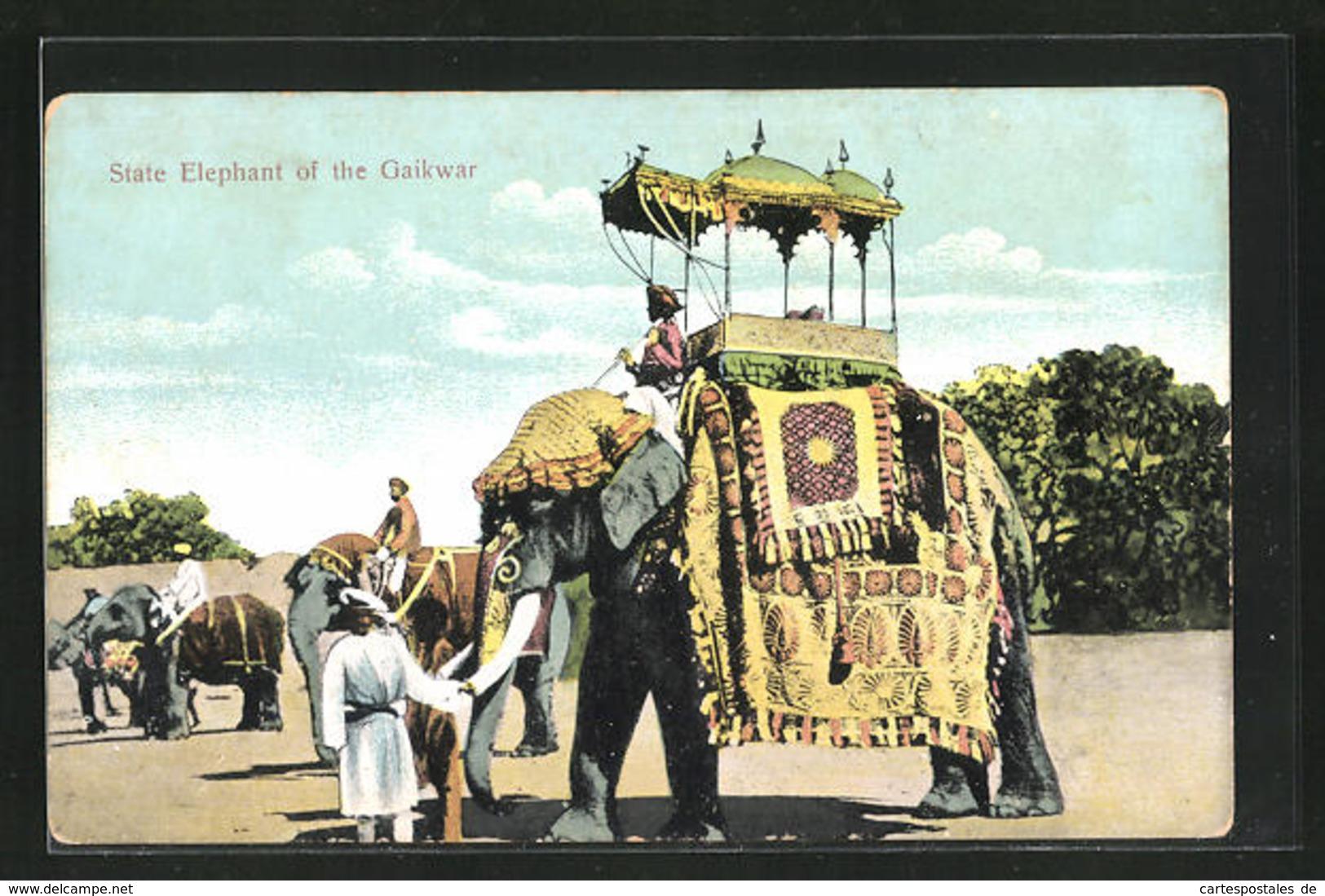 AK India, State Elephant Of The Gaikwar, Elefant Mit Mahut - Elephants