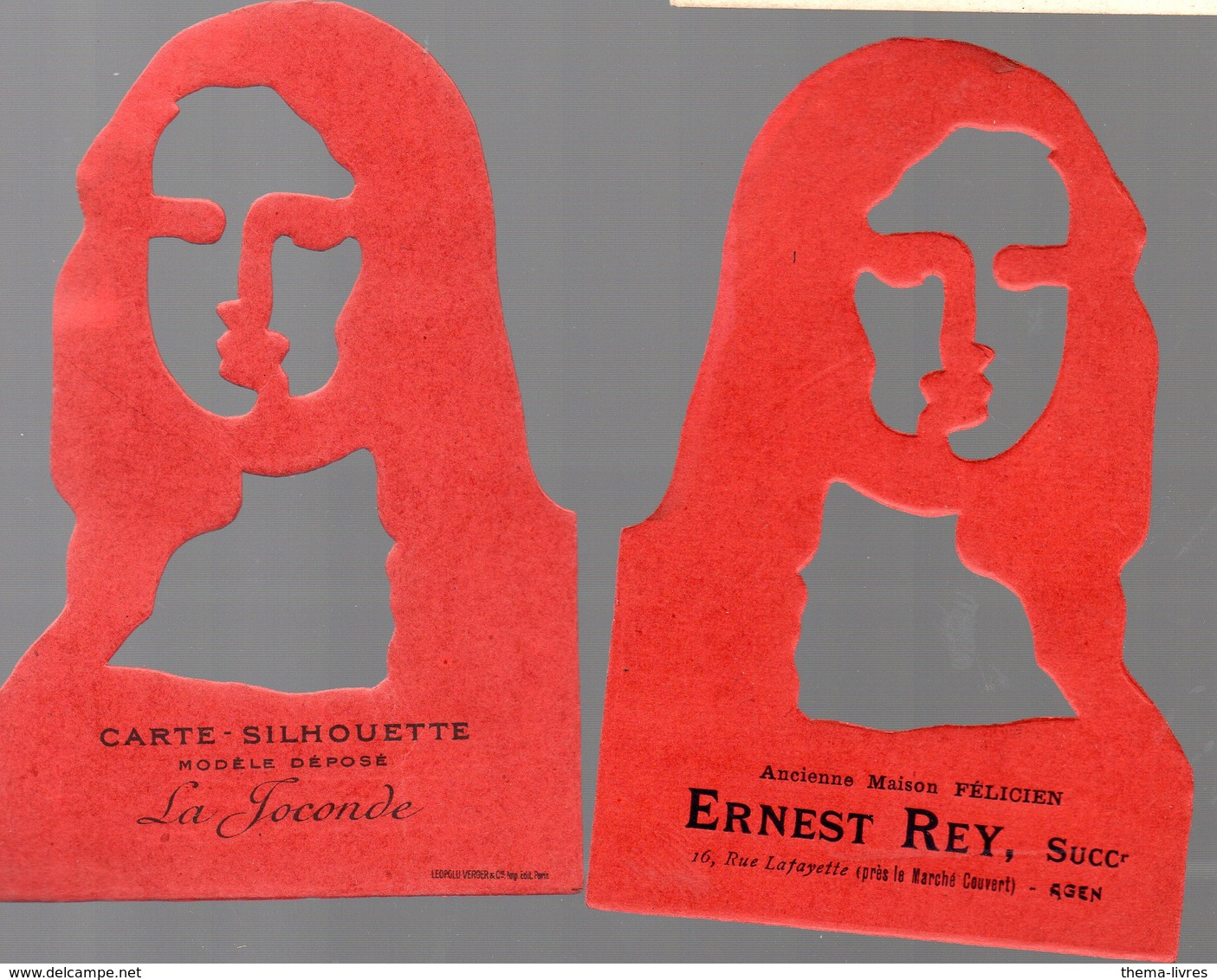 Agen (47 Lot Et Garonne) Carte-silhouette LA JOCONDE  Offert Par ERNEST REY (PPP17572 ) - Vieux Papiers