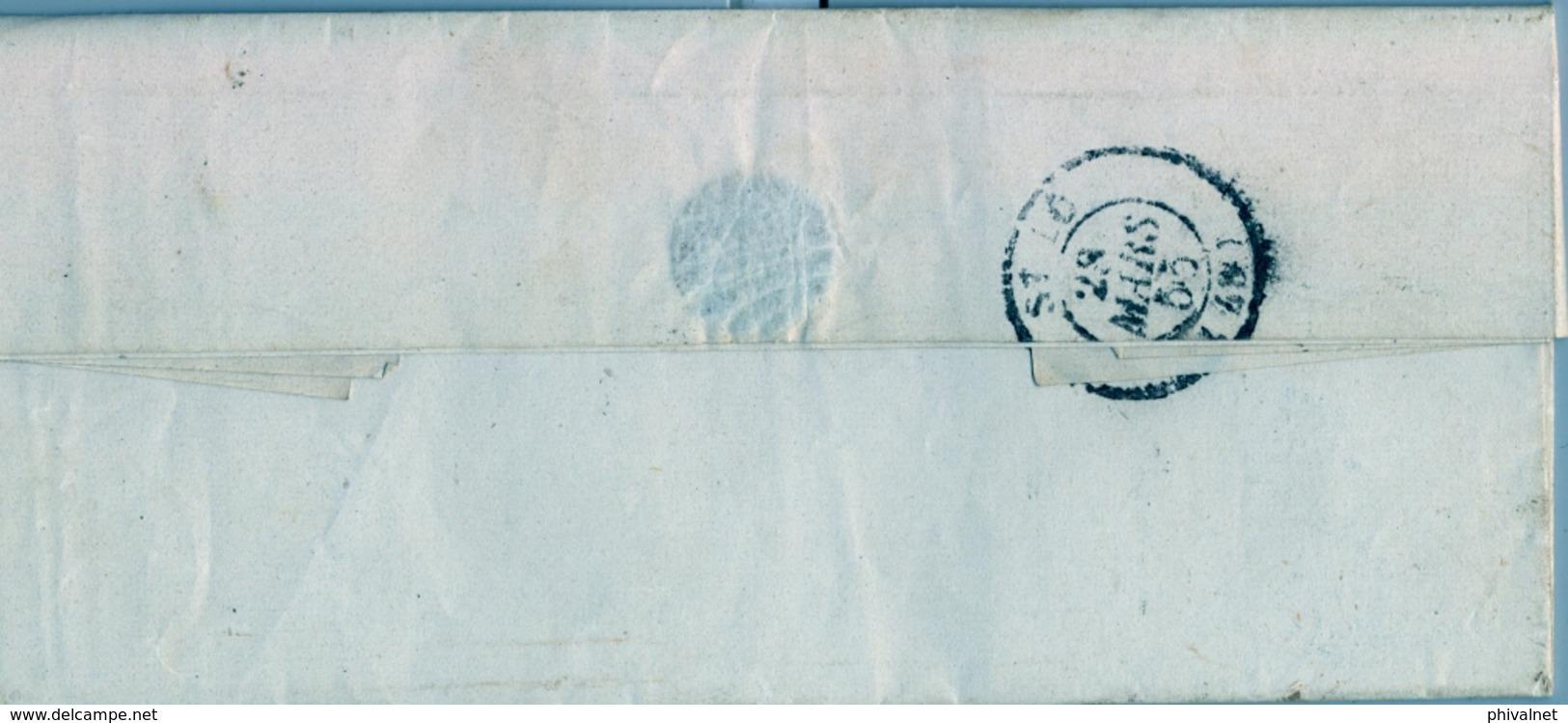 1855 FRANCIA , CARTA CIRCULADA , BAYEUX - SAINT LO , LLEGADA - Marcofilia (sobres)