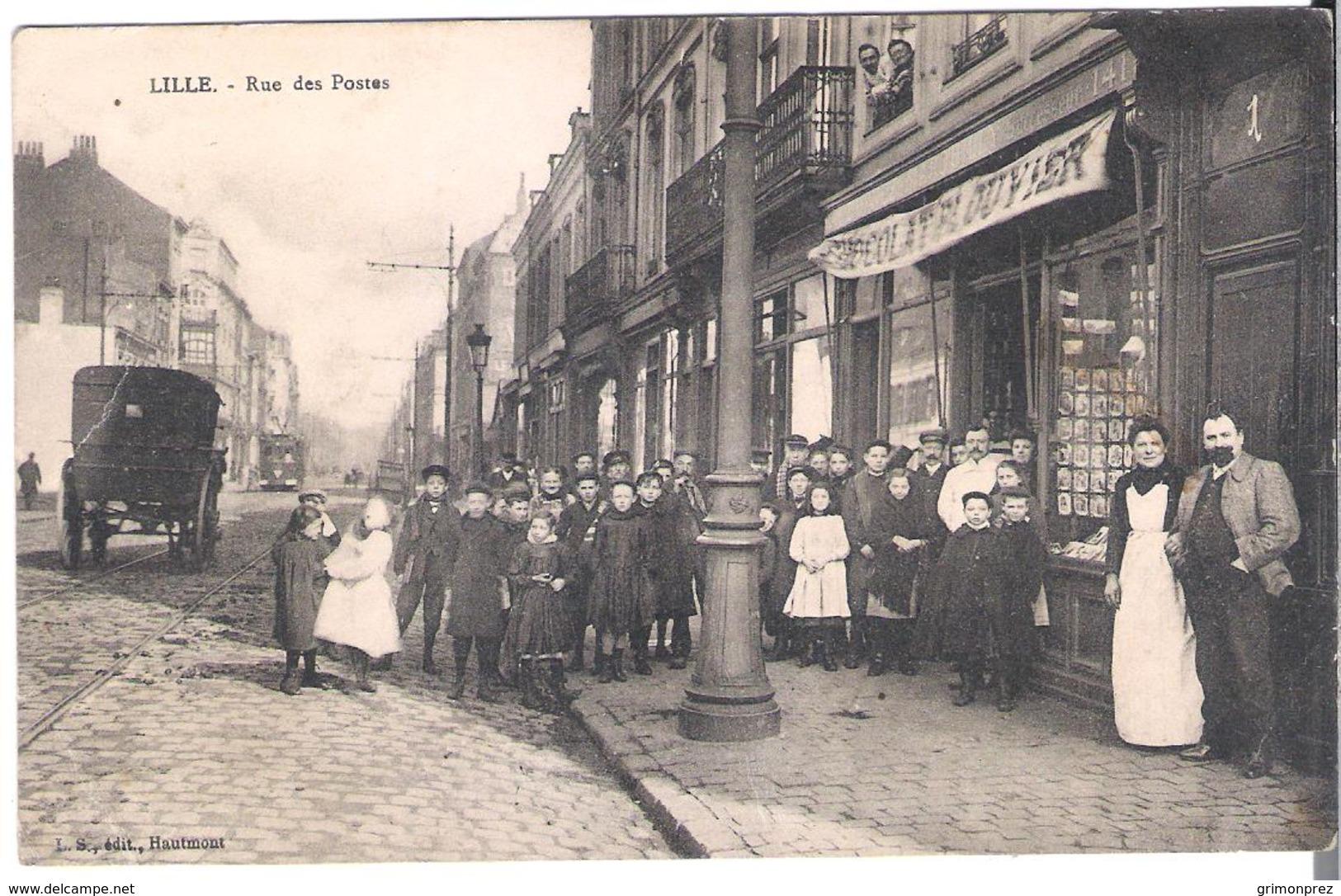 CPA NORD LILLE La Rue  Des Postes (marchand De Cartes Postales ) Quartier De Wazemmes   -Etat Moyen Voir Scans Edit LSH - Lille