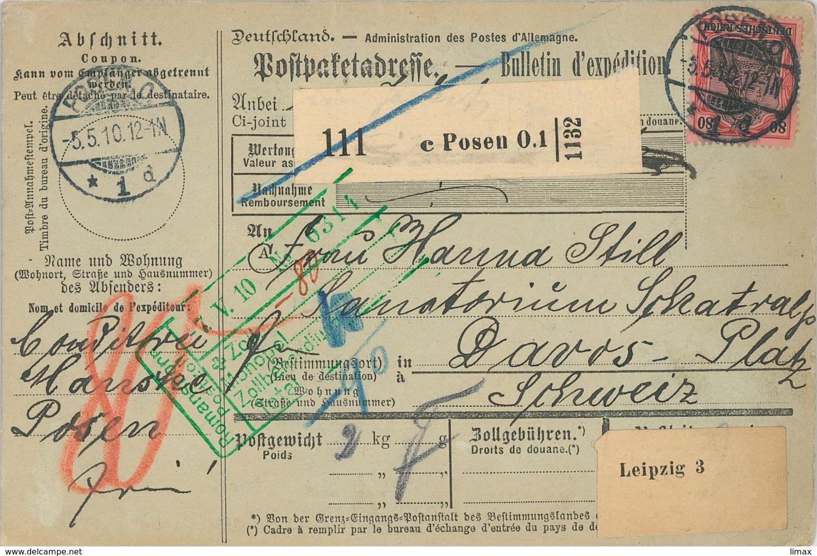 Paketkarte Nach Davos Schatzalp Sanatorium Mann Zauberberg Von Posen über Leipzig N. Romanshorn Postzoll 1910 - Briefe U. Dokumente