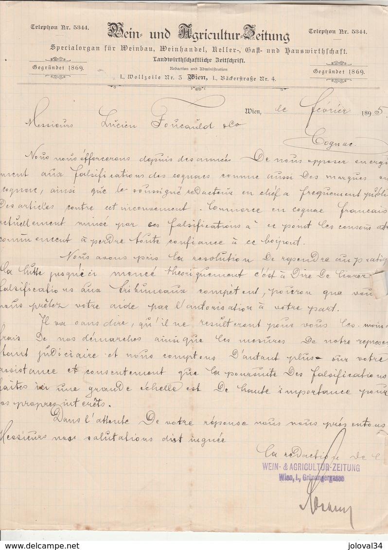 Autriche Facture Lettre 4/2/1895 REIN & AGRICULTUR ZEITUNG WIEN - Autriche