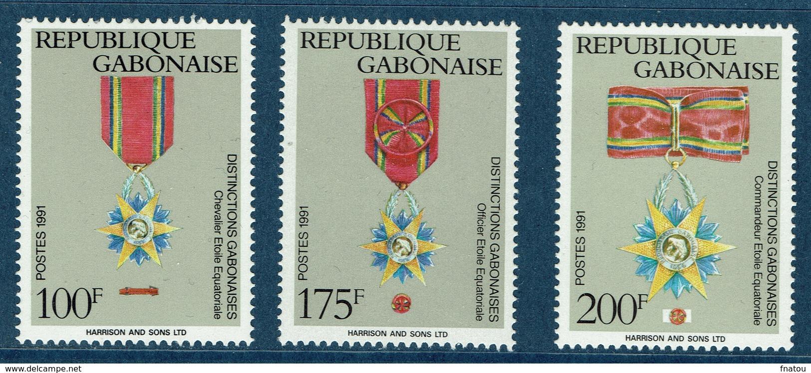 Gabon, Gabonese Medals, 1991  MNH VF  Complete Set Of 3 - Gabon