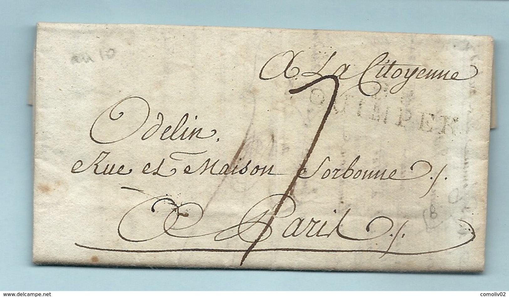 Finistère - Quimper Pour Paris. LAC De L'An X. MP 28/QUIMPER - 1801-1848: Precursors XIX
