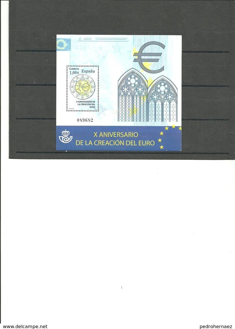 ESPAÑA-Hoja Bloque 4496 Aniversario Creación Del Euro Sellos Nuevos Sin Fijasellos (según Foto) - Blocs & Hojas
