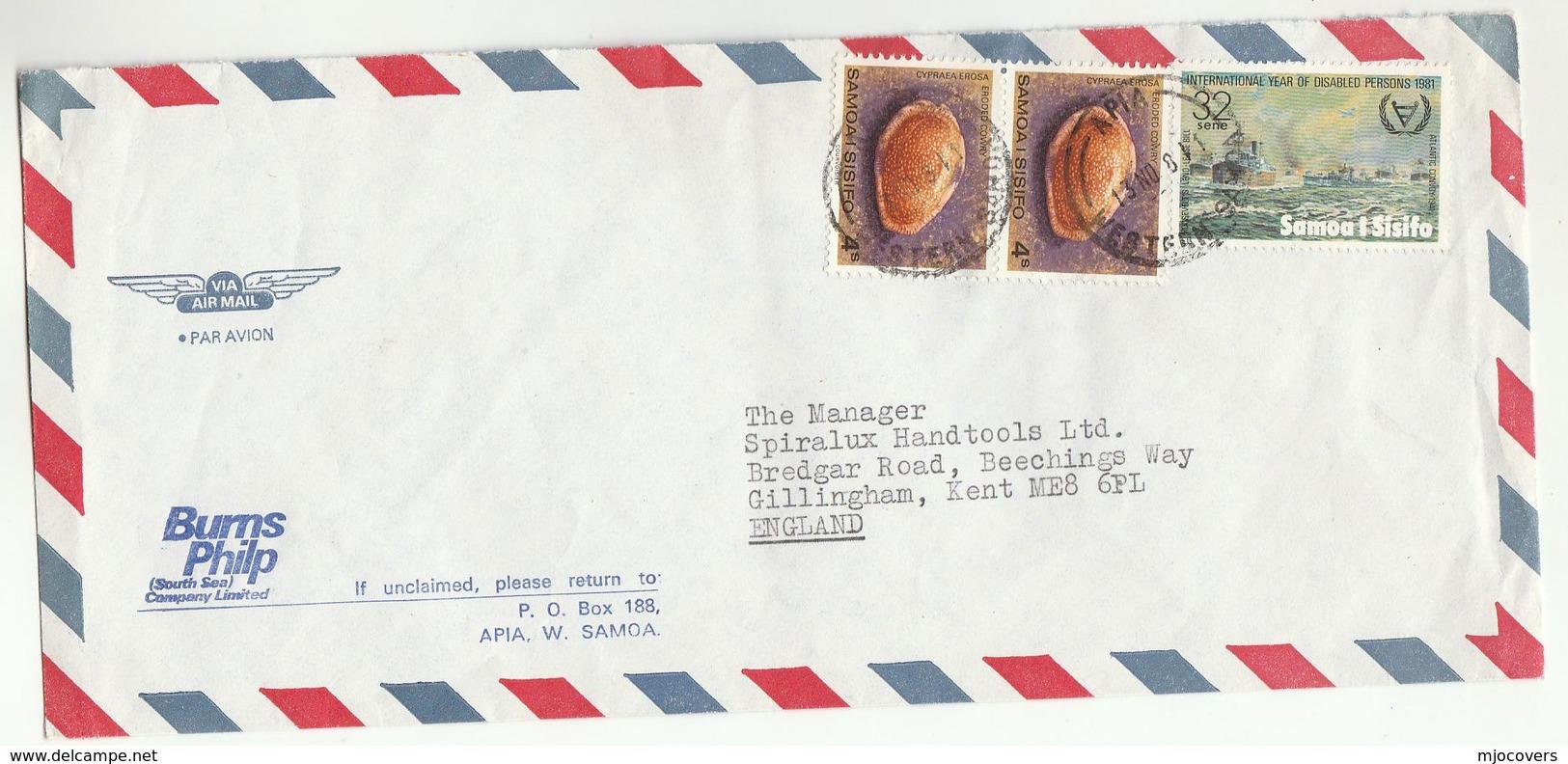1981 SAMOA COVER Stamps 2x SHELL 1 X WWII CONVOY SHIP Airmail BURN PHILIP LTD To GB - Samoa