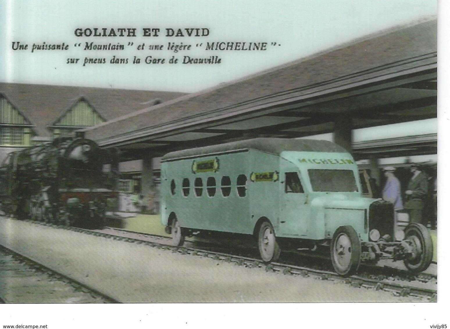 """14 - DEAUVILLE - T.B. Carte 3D De Goliath Et David , Puissante """"MOUNTAIN"""" , Légère """" MICHELINE """" Sur Pneus Dans La Gare - Mechanical"""
