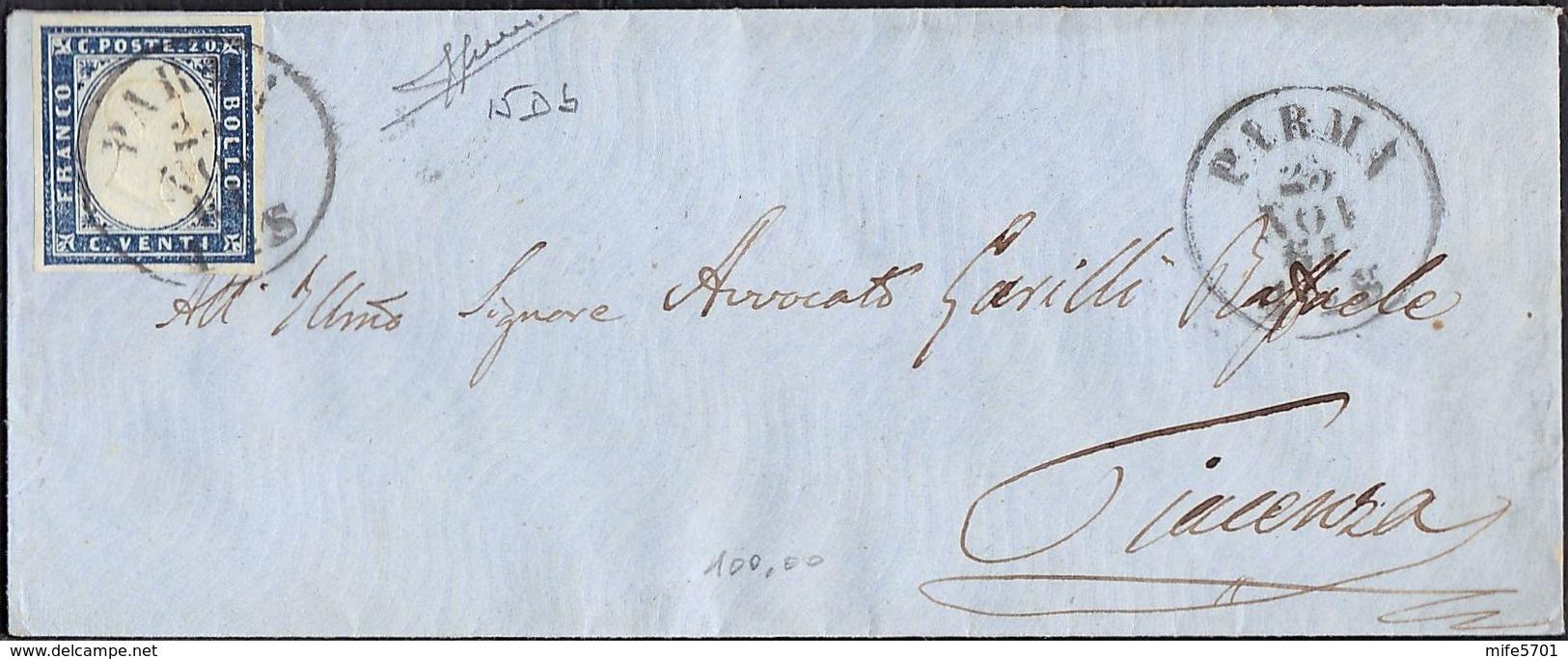 SARDEGNA FRANCOBOLLO C. 20 SU PICCOLA BUSTA DA PARMA PER PIACENZA DEL 25/11/1861 - SASSONE 15Db (CELESTE GRIGIASTRO) - Sardaigne