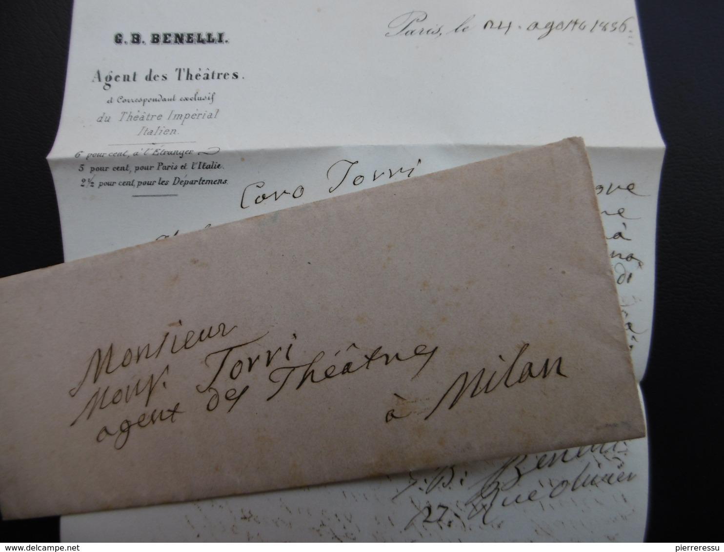 LETTRE AUTOGRAPHE GIOVANNI BATTISTA BENELLI AGENT DE THEATRE 1856 A LIRE - Autogramme & Autographen