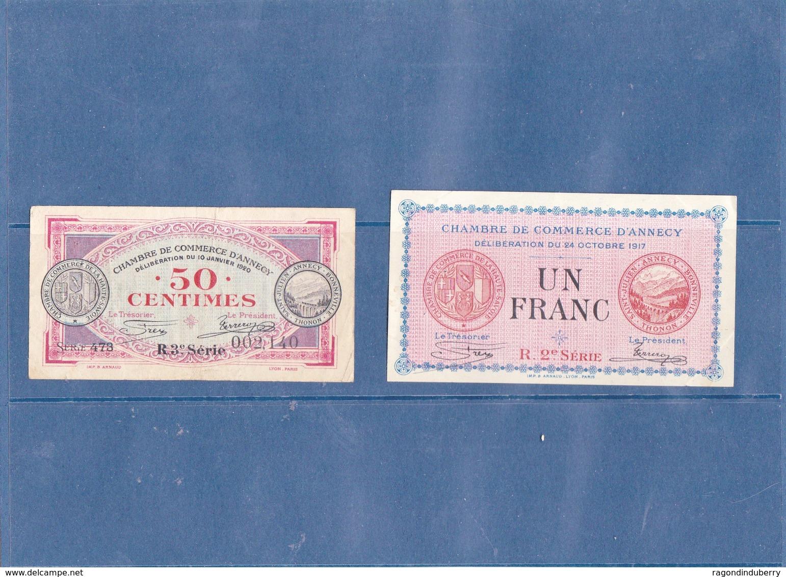 74 - ANNECY - 2 Billets De La CHAMBRE DE COMMERCE - 1Frs 1917 Et 0,50 Cts 1920 - Frais De Port Gratuits - Chamber Of Commerce