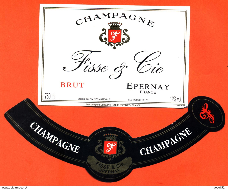 étiquette + Collerette De Champagne Brut Fisse Et Cie à épernay - 75 Cl - Champagne