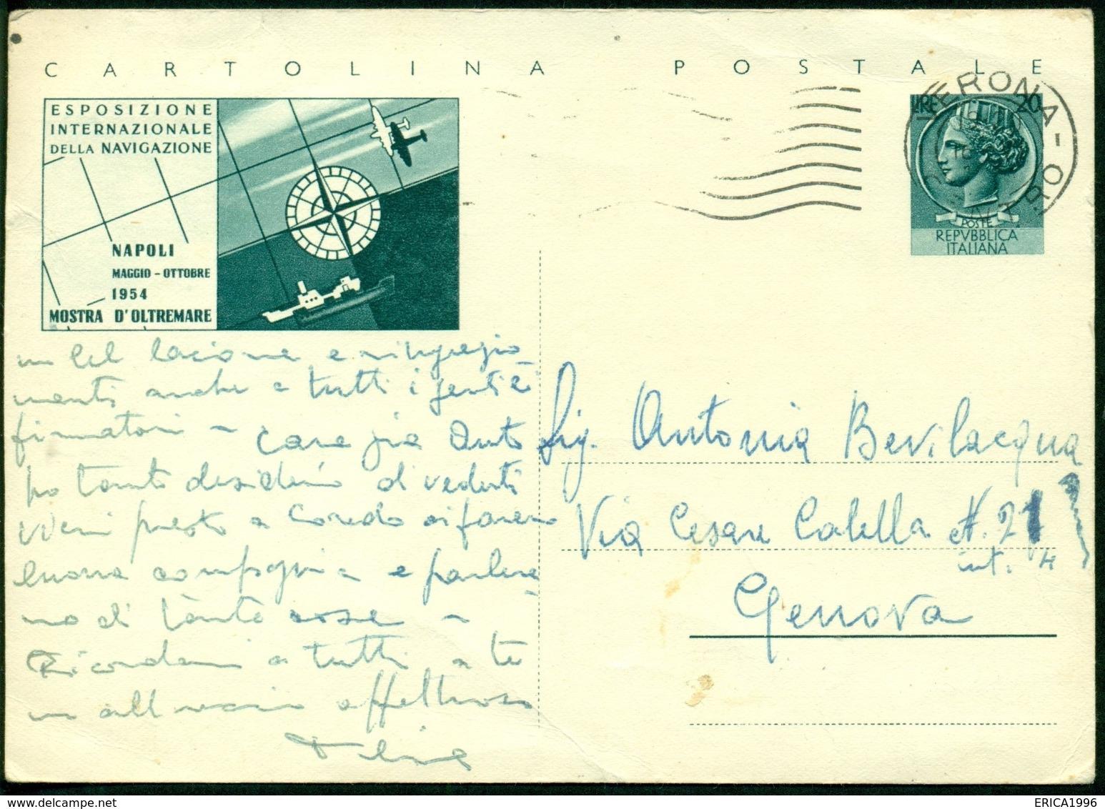 V9114 ITALIA REPUBBLICA 1954 Cartolina Postale 20 L. Mostra Oltremare Napoli, Fil. C159, Interitalia 160, Da Verona - 6. 1946-.. Repubblica