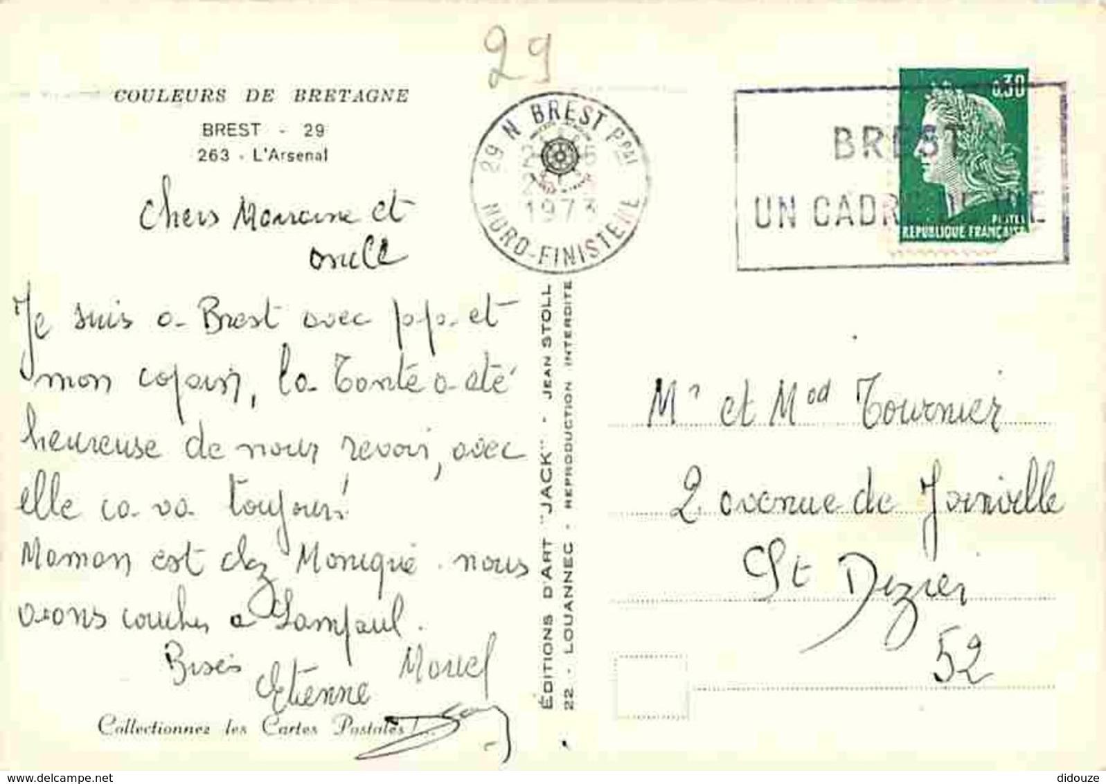 29 - Brest - L'Arsenal - Bateaux De La Marine Nationale - Automobiles - Flamme Postale - Voir Scans Recto Verso - Brest