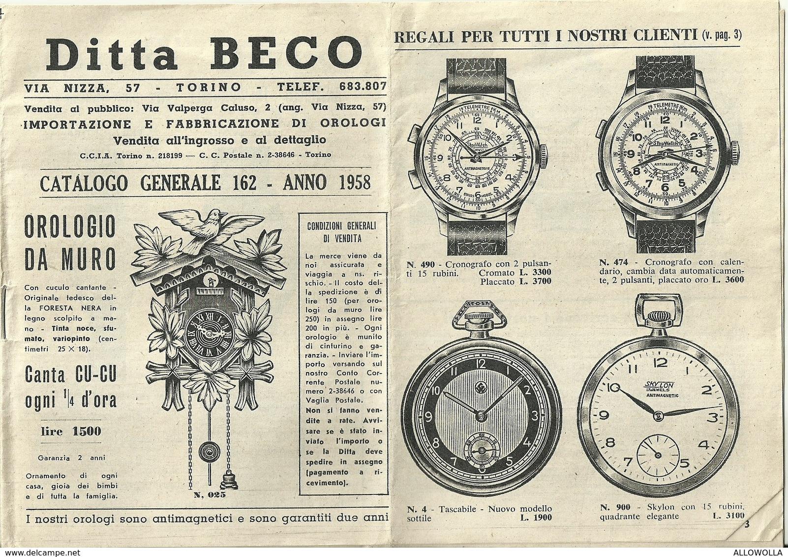 """2923 """" DITTA BECO-TORINO-IMPORTAZIONE E FABBRICAZIONE DI OROLOGI-CAT. N° 162-ANNO 1958 """" ORIGINALE - Gioielli & Orologeria"""